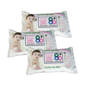 Mom Easy Baby Wipes Sensitive White 3 x 80pcs