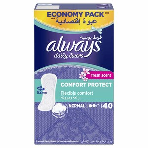 Always Daily Liners Comfort Protect With Fresh Scent Normal 40pcs