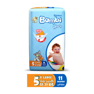 Sanita Bambi Baby Diapers Regular Pack Size 5 X-Large 12-22kg 11pcs