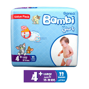Sanita Bambi Baby Diapers Value Pack Size 4+ Large plus 10-18kg 33pcs