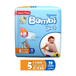 Sanita Bambi Baby Diapers Value Pack Size 5 X-Large 12-22kg 28pcs