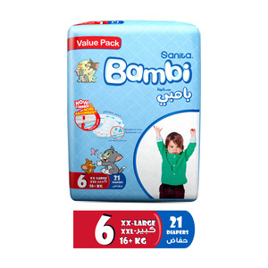 Sanita Bambi Baby Diapers Value Pack Size 6 XX-Large 16+kg 21pcs