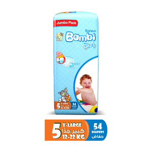 Sanita Bambi Baby Diapers Jumbo Pack Size 5 X-Large 12-22kg 54pcs