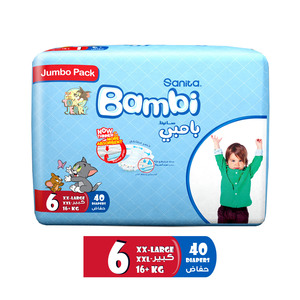 Sanita Bambi Baby Diapers Jumbo Pack Size 6 XX-Large 16+kg 40pcs