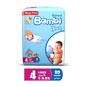Sanita Bambi Baby Diapers Mega Pack Size 4 Large 8-16kg 80pcs