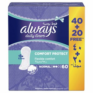 Always Comfort Protect Daily Liners Normal 60pcs