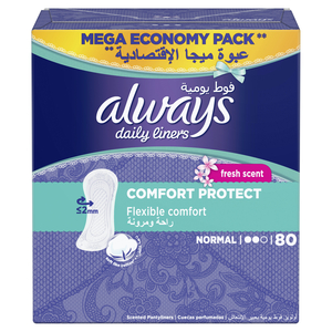Always Daily Liners Comfort Protect With Fresh Scent Normal 80pcs