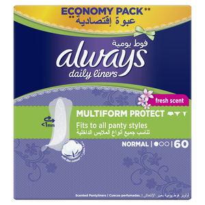 Always Daily Liners Multiform With Fresh Scent Normal 60pcs