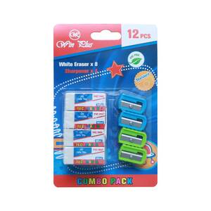 Win Plus Combo Pack White Eraser 8's + Sharpener 4's KR971620