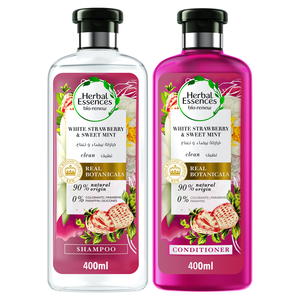 Herbal Essences Bio:Renew Natural Shampoo + Conditioner with White Strawberry & Sweet Mint for Hair Volume 400ml + 400ml