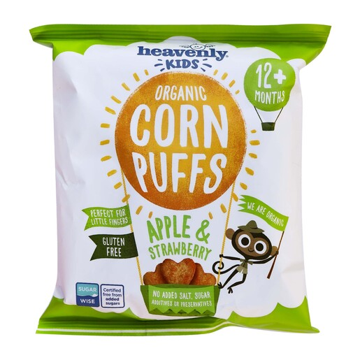 Heavenly Kids Organic Corn Puffs Apple &Strawberry 12+ months 15g