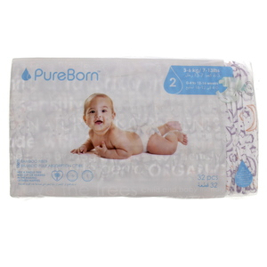 Pure Born Diaper Size 2, 3-6kg, 32Pcs