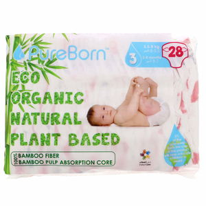 Pure Born Organic Natural Plant Based Nappies Size 3, Medium, 5.5 - 8kg, 28pcs