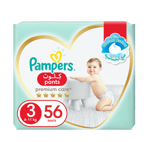 Pampers Premium Care Pants Diapers Our Softest Diaper With Stretchy Sides for Better Fit Size 3 6-11kg 56pcs