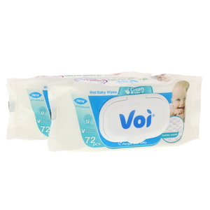 Voi Wet Baby Wipes Cream Lotion 2 x 72pcs