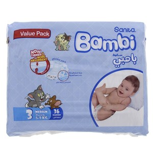 Bambi Diaper Size 3, Medium, 5-9kg, Value Pack 36 Counts
