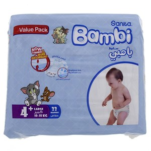 Bambi Diaper Size 4+, Large, 10-18kg, Value Pack 33 Counts