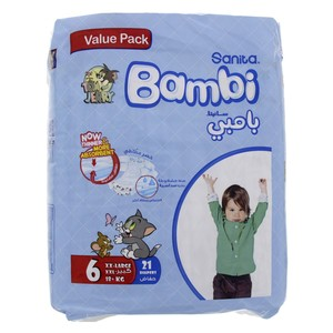 Bambi Diaper Size 6, XX Large, 18+kg, Value Pack 21 Counts
