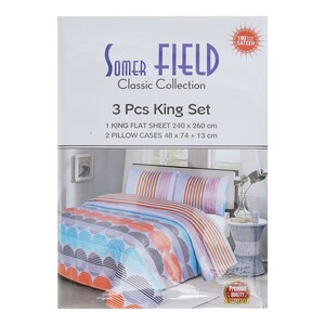 Somer Field Bed Sheet King 3pcs Set 240x260cm Assorter color & Designs