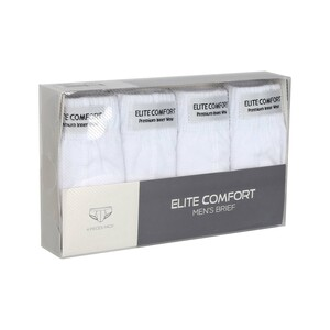 Elite Comfort Men's Brief White 4 Pcs Pack Large