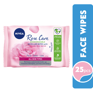 Nivea Micellar Organic Rose Water Face Cleansing Wipes All Skin Types 25pcs