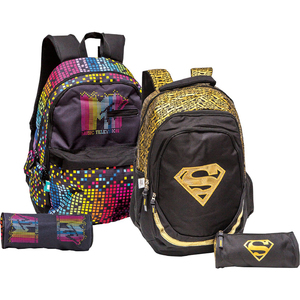 MTV Teenage BackPack + Pencil Case FK160586 18in Assorted Per pc