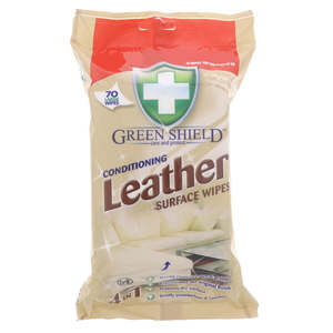 Green Shield Conditioning Leather Surface Wipes 70Pcs