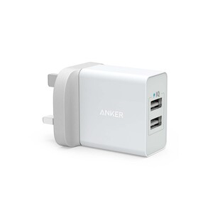 Anker 24W 2-Port USB Charger with 3ft micro USB Cable White