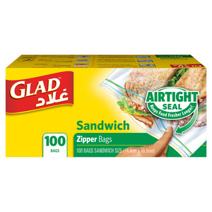 Glad Zipper Food Storage Sandwich Bags Size 14.4cm x 16.5cm 100pcs