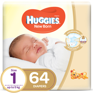 Huggies New Born Size 1 Value Up to 5kg 64pcs