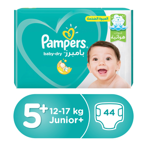 Pampers Baby Dry Diapers Size 5+ , 12-17kg, 44pcs