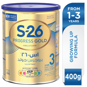 Wyeth Nutrition S26 Progress Gold Stage 3 1-3 Years Premium Milk Powder Tin for Toddlers 400g