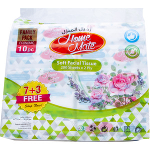 Home Mate Soft Facial Tissue 2ply 10 x 200pcs