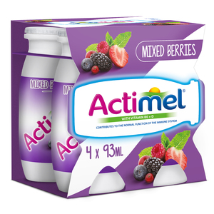 Actimel Mixed Berries Skimmed Dairy Drink 4 x 93ml