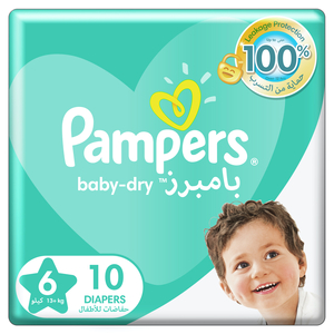 Pampers Baby-Dry Diapers Up to 100% Leakage Protection Over 12 Hours Size 6 13+kg 10pcs