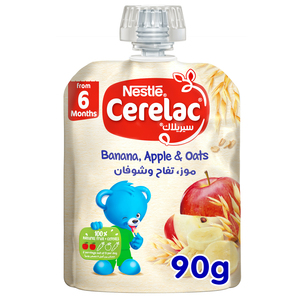 Nestle Cerelac Fruits Puree Pouch Banana Apple Oat 90g