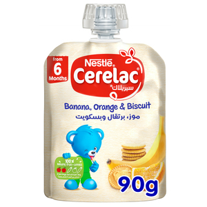Nestle Cerelac Fruits Puree Pouch Banana Orange Biscuit 90g