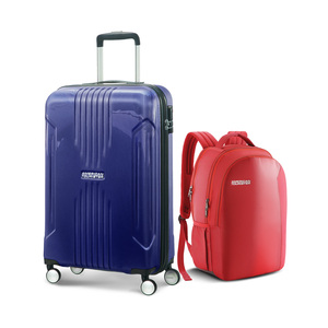 American Tourister Tracklite 4Wheel Hard Trolley 78cm Purple+Backpack