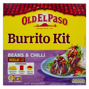 Old El Paso Burrito Kit Beans & Chilli Mild 620g