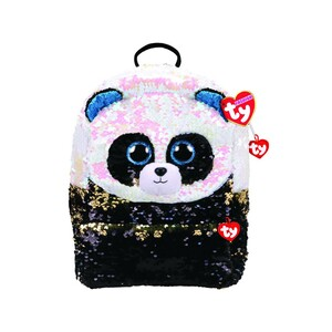 "Ty Fashion Sequin Panda Bamboo Backpack Black White 11"" 95040"