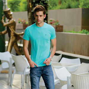 Eten Men's Basic Tee Round-Neck Short Sleeve Capri