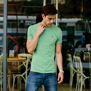 Eten Men's Basic Tee Round-Neck Short Sleeve Mineral Green Extra Small