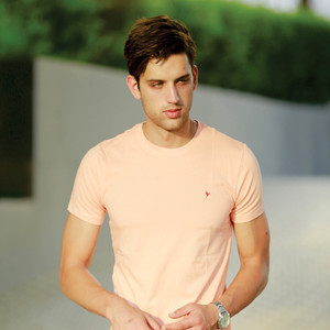 Eten Men's Basic Tee Round-Neck Short Sleeve Salmon