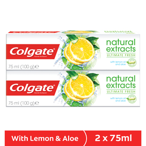 Colgate Toothpaste Natural Extracts Ultimate Fresh with Lemon Oil and Aloe 2 x 75ml