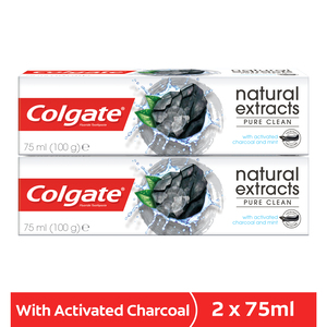 Colgate Toothpaste Natural Extracts Pure Clean with Activated Charcoal 2 x 75ml