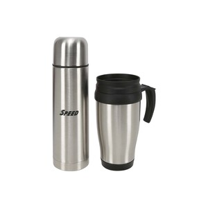 Speed Stainless Steel Double Wall Flask 500ml + Travel Mug 450ml KEW1