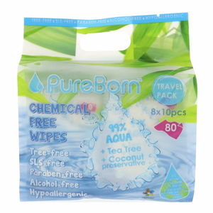 Pure Born Chemical Free Wipes 8 x 10pcs