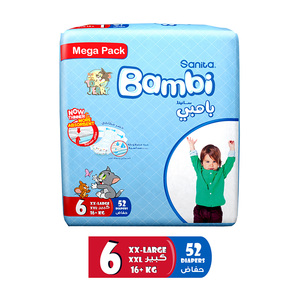 Sanita Bambi Baby Diapers Mega Pack Size 6 XX-Large 16+kg 50pcs