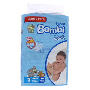 Bambi Jumbo Pack Diaper Size3, Medium, 5-9kg 70 count