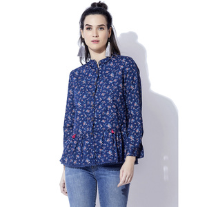 Eten Women' s Washed Denim Peplum Top 2363